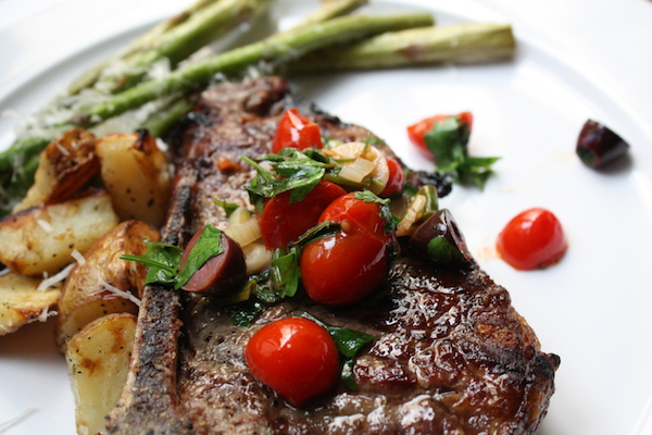 Grilled Rib-Eyes with Tomatoes and Kalamatas