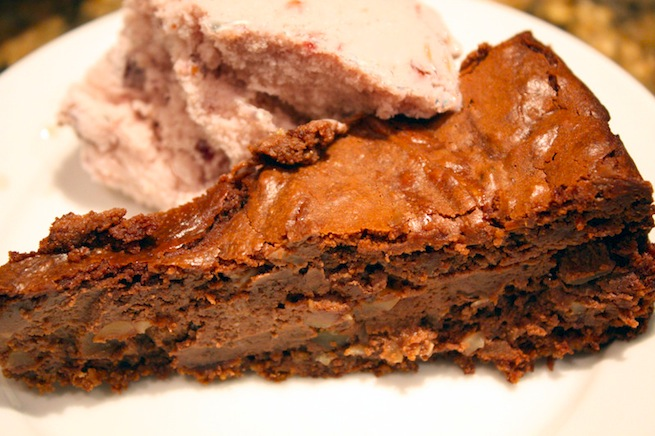 "<img alt=""chocolate almond cheesecake with cherry gelato""/>"