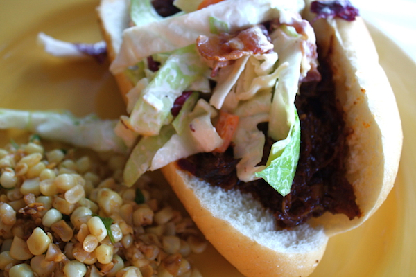 BBQ Beef Sandwiches with Bacon Cheese Slaw - Sass and Veracity