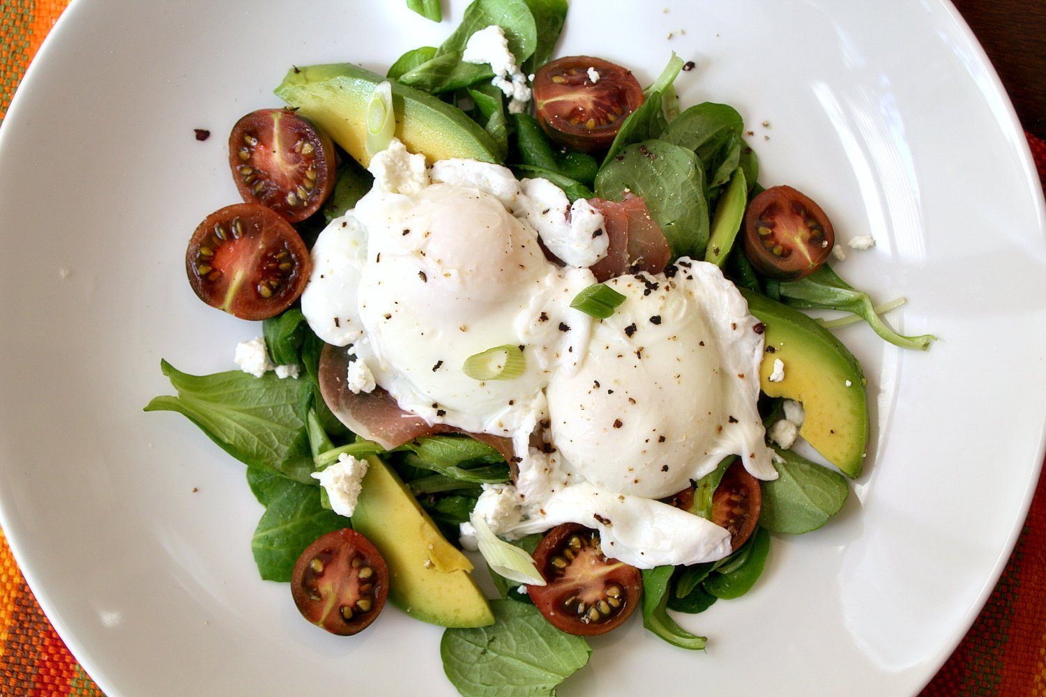 Breakfast Salad with Poached Egg and Prosciutto