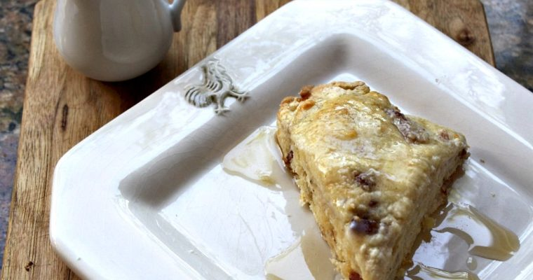 Bacon Cheddar Scones with Maple Syrup