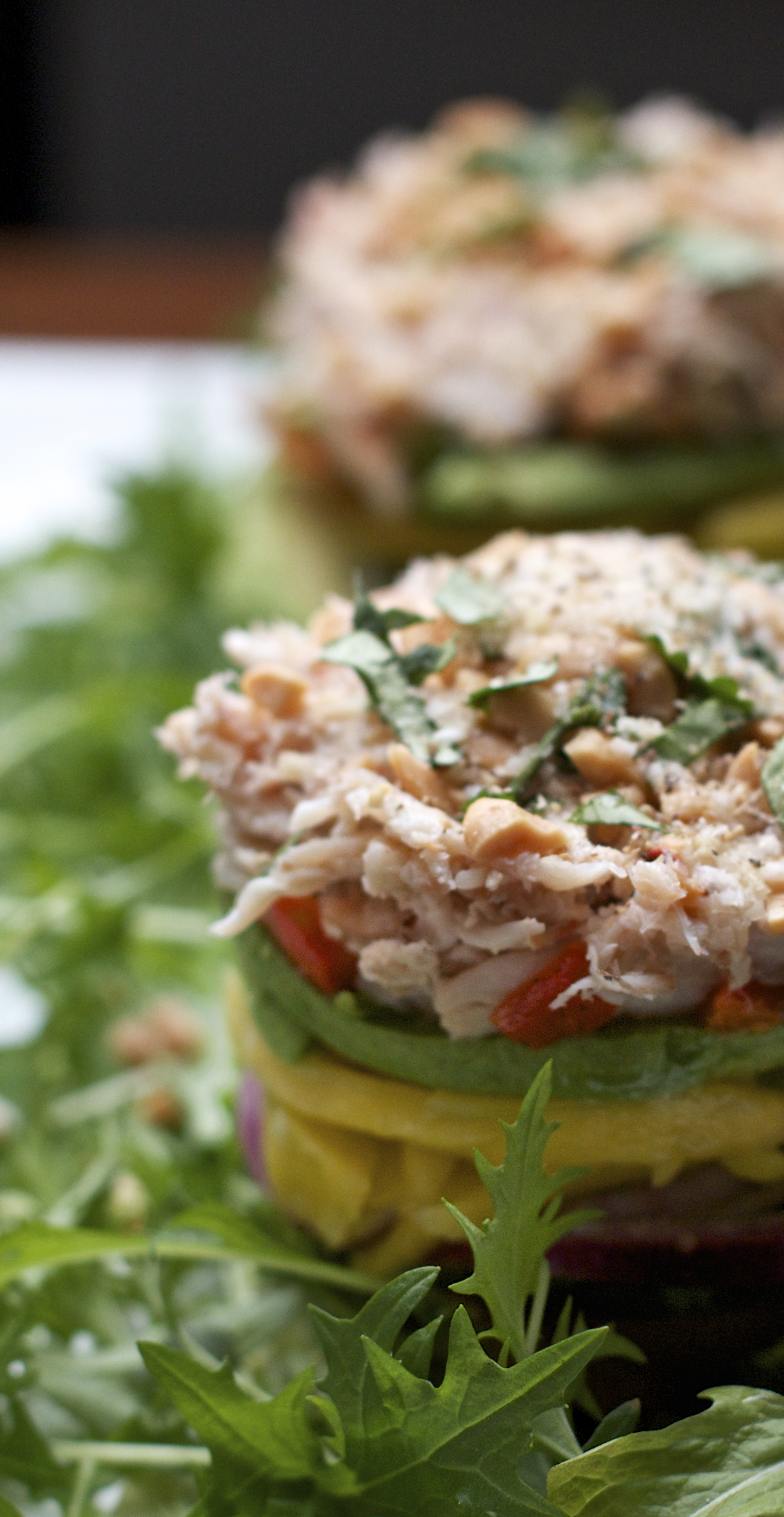 Crab Stacks with Ginger Lime Dressing