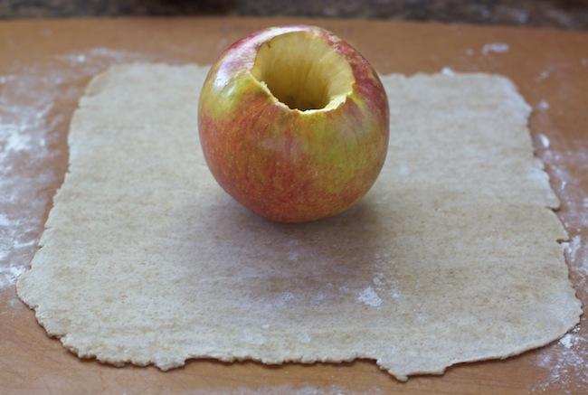 "<img alt=""measuring apple dumpling dough""/>"