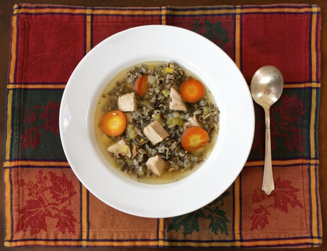 Non Creamy Turkey and Wild Rice Soup with Vegetables