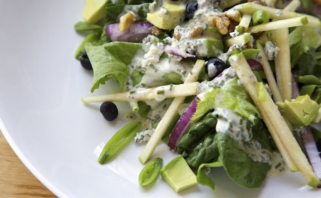 Green Salad with Blueberries, Apples & Mustard Chive Vinaigrette